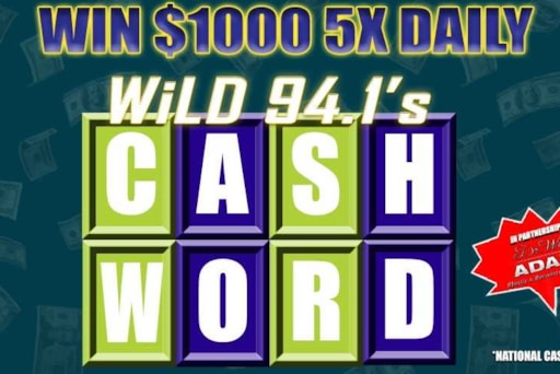 win 1 000 5x daily with wild 94 1 cash word